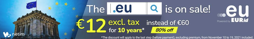 netim与eurid合作的活动, .eu 域名十年只需要12欧-高岸姬